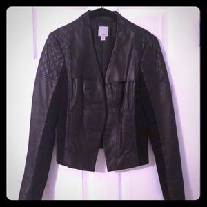 Halogen quilted leather jacket